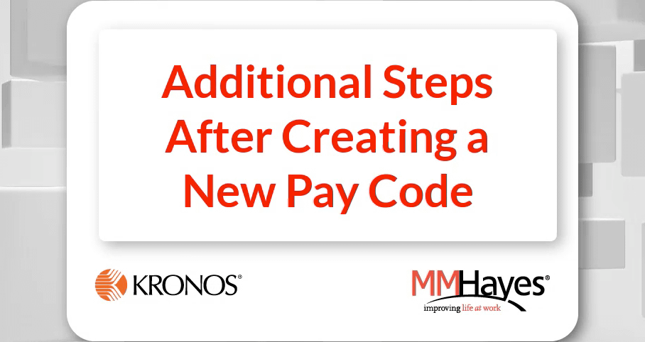 Additional Steps After Creating a New Pay Code