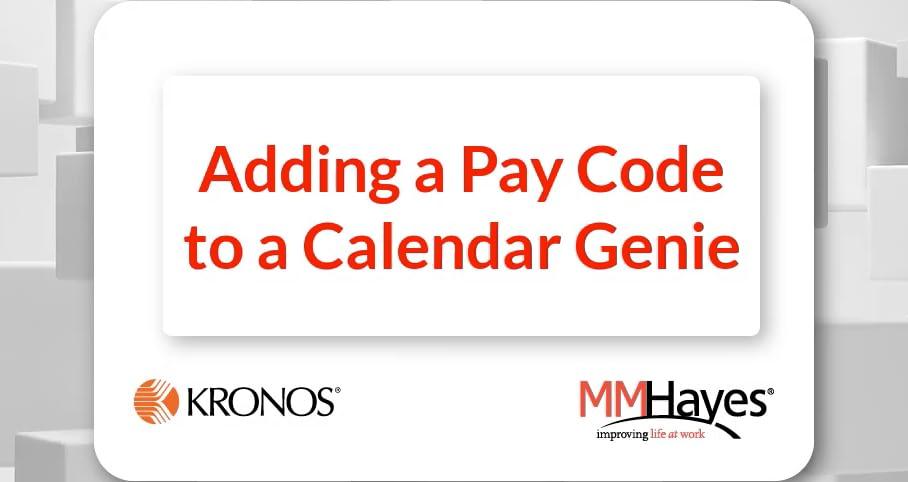 Adding a Pay Code to a Calendar Genie